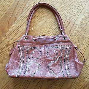 Mazzini Italian Leather Cognac Grommet Handbag euc